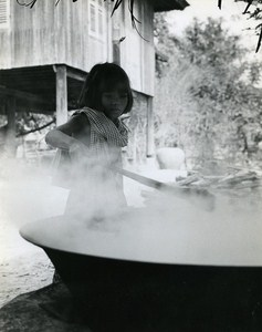 Rice Cooking Sinoun little Cambodian Old Photo Wertheimer 1968