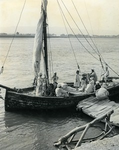 Felucca Nile Portrait Faouzi the small Egyptian old Photo Darbois 1965