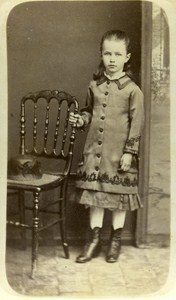 Children Costume Fashion Blois France Old CDV Photo Maignan 1870
