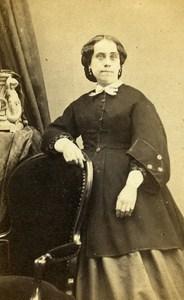 Woman Costume Fashion Marseille France Old CDV Photo Cazalis 1870
