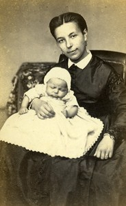Woman Baby Costume Fashion Lyon France Old CDV Photo Durand ca 1870