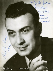 French Artist Reda Caire Movie Singer Old Photo Carlet Autographed 1950