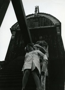 Windmill Stairs Woman Fashion France Old Photo Castillon du Perron 1970