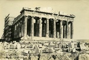 Greece Athens Acropolis Parthenon Works Old Photo 1930