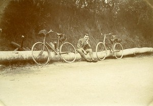 Bicycle promenade Berce Forest Le Mans France Old Snapshot Photo 1911