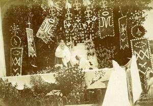 Corpus Christi Procession France Monce en Belin Old Snapshot Photo 1911