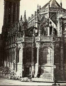 Tower & Apse Saint Pierre Church Caen France Old Photo Bisson 1858