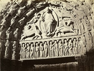 Chartres Tympanum the Main Gate France Old Photo Bisson 1858