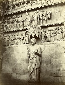 Reims Cathedrale North Portal Statue of Christ France Old Photo Bisson 1858