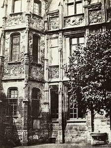 Rouen Hotel Bourgtheroulde Court side France Old Photo Bisson 1858
