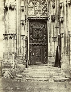 Rouen Saint Maclou Church Gate J Goujon France Old Photo Bisson 1858