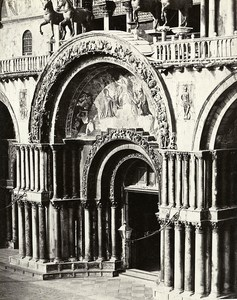 Venice St. Mark's Gate Central Facade Italy Old Photo Bisson 1858