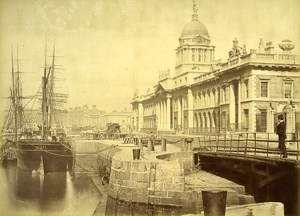 Ireland Eire Dublin Custom House Warf on Liffey River Old Albumen Photo 1875