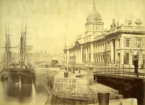 Ireland Eire Dublin Custom House Warf on Liffey River Old Albumen Photo 1875