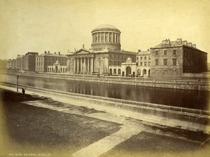 Ireland Eire Dublin Four Courts Liffey River Old Albumen Photo 1875
