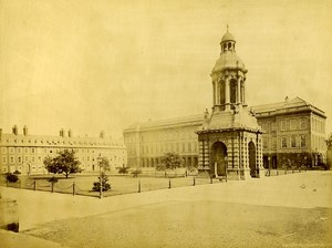 Ireland Eire Dublin Trinity College Old Albumen Photo 1875