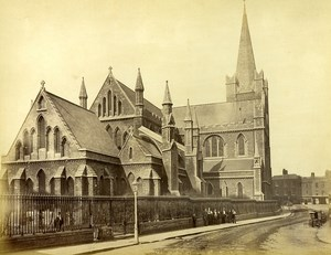 Ireland Eire Dublin Saint Patrick Church Animated Old Albumen Photo 1875
