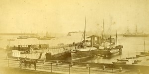 Ireland Eire Dublin Harbour General View Old Albumen Photo 1875