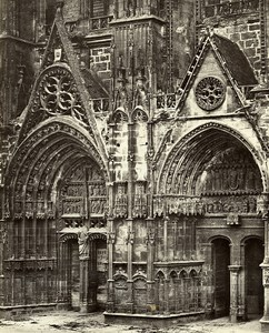 France Bourges Cathedral Principal Door Old Photo Bisson 1857