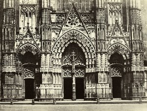 France Tours Saint Gatien Cathedral Portail Old Photo Bisson 1857