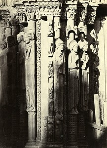 France Chartres Cathedral Pillars of the Royal Portal Old Photo Bisson 1857