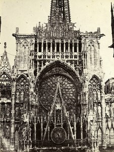 France Rouen Cathedral Coronation of the Central Gate Old Photo Bisson 1857