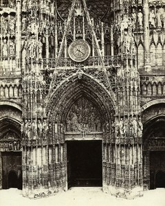 France Rouen Cathedral Portal Main Gate Central Old Photo Bisson 1857