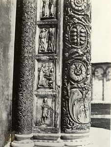 Italy Pisa Jambs of the door of the Baptistery Old Photo Bisson 1858