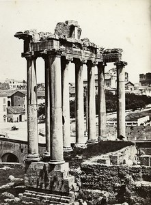 Italy Roma Temple of Concord & Column of Phocas Old Photo Bisson ca 1858