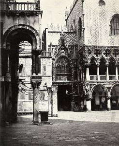 Italy Venice Ducal Palace Door della Carta Old Photo Bisson 1858