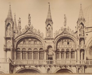 Italy Venice Detail of St Mark s Church Old Large Photo Carlo Naya 1865