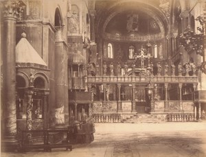 Italy Venice Interior of St Mark Basilica Old Large Photo Carlo Naya 1865