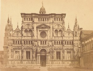 Italy Certosa di Pavia Facade Old Large Photo 1860