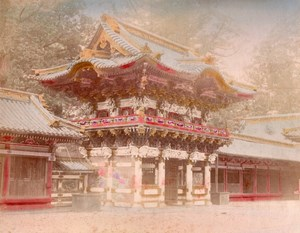 Japan Nikko Toshogu Yomeimon Gate Gojunoto Tower 2 Old albumen Photos 1890