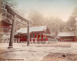 Japan Nikko Sanjinko Torii Toshogu Lake Chuzenji 2 Old albumen Photos 1890