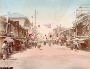 Japan Osaka Dotonbori Street & Seaside Path & Cliff 2 Old albumen Photos 1890