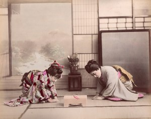 Japan Scene de Genre Japanese Lady Greetings Hand colored 2 albumen Photos 1890