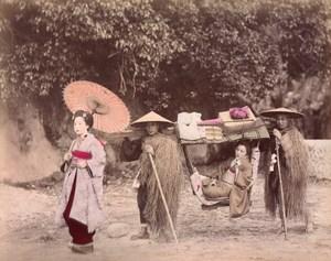 Japan Palanquin Bearers & Japanese Women playing Music 2 Old albumen Photos 1890