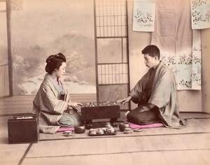 Japan Playing Game of Go & Mother Child Readaing Writing 2 albumen Photos 1890