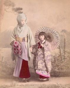 Japan Mother & Child Umbrella & Ladies reading Letter 2 Old albumen Photos 1890