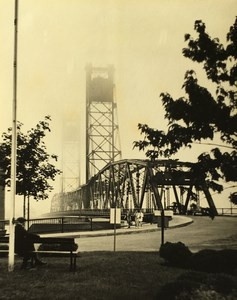 New Hampshire Portsmouth Memorial Bridge Lifting Fog Ancienne Photo 1940