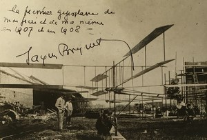 Aviation Gyroplane Jacques Breguet 1937 Autograph & 1908 Photo