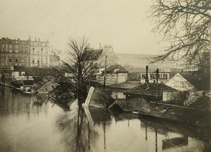 France Paris Inondations de 1910 Floods Seine River Wine Warehouses Old Photo