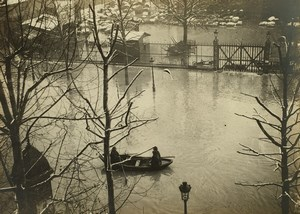 France Paris Inondations de 1910 Floods Seine River Boat Old Photo
