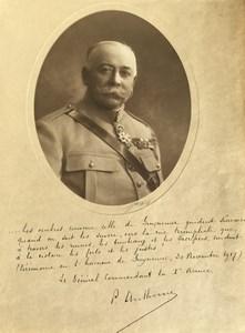 General Francois Anthoine Texte Autographe Ceremonie Guynemer Ancienne Photo Melcy 1917