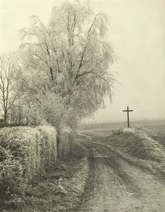 France Nord Countryside Dirt Road Winter Scene Old Deplechin Photo 1990