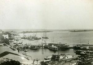Brazil Corumba Harbour Rio Paraguay Panorama Old Cabinet Card Photo 1900