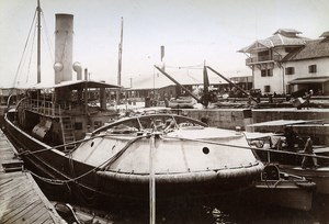 Colombo Sri Lanka Ceylon Military Boat Old Photo 1895