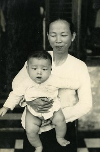 Indochina Cambodia Kampot Chinese & Child Old Amateur Snapshot Photo 1930