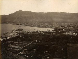 Italy Palermo & Syracuse Panorama 2 Old Photos Sommer Front/Back 1885